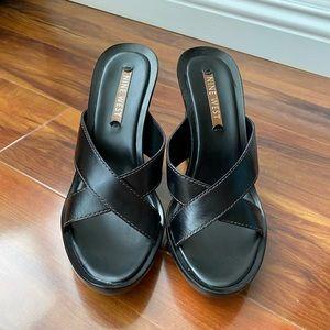 NEW Nine West Black Leather Wedge Heel